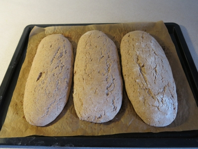 Three loaves on tray before baking