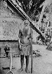 Old b/w photo of a Nauruan man with very long beard.